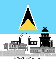 Saint Lucia - State flag and architecture of the country...