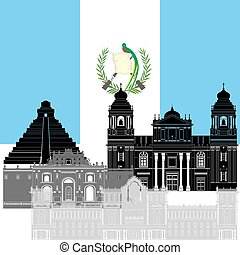 Guatemala - State flag and architecture of the country...