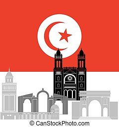 Tunisia - State flag and architecture of the country...