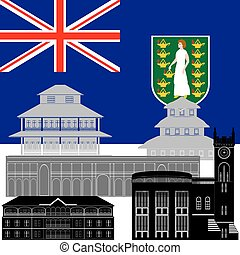 Virgin Islands - State flag and architecture of the country...