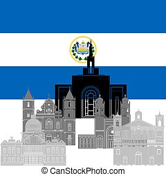 Salvador - State flag and architecture of the country...