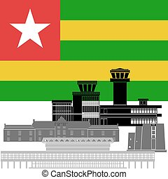 Togo - State flag and architecture of the country....