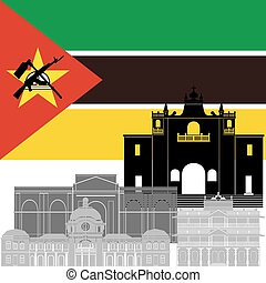 Mozambique - State flag and architecture of the country...