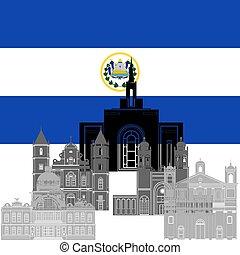 Salvador - The national flag of the Salvador and the contour...