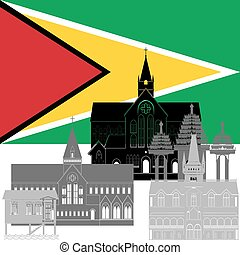 Guyana - State flag and architecture of the country...