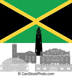 Jamaica - State flag and architecture of the country...
