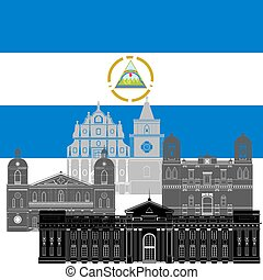 Nicaragua - State flag and architecture of the country...