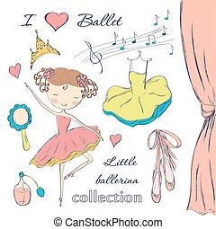 ballerina and accessories - Hand drawn ballerina and...