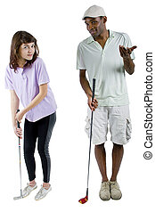 Golf Tutroial - golf instructor with a teenager student on...