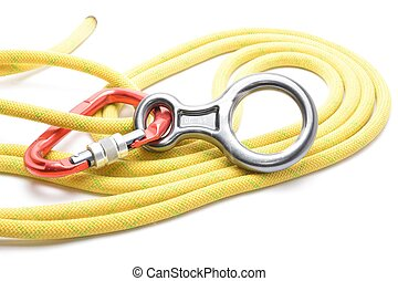 Carabinner rope and figure eight isolated on white