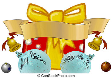 Christmas Package, balls and banners - Christmas package,...