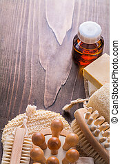 classical wooden massagers wisp brushes loofah soap and oil on v