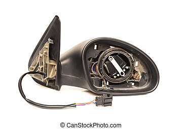 Rearview disassembled on a white background
