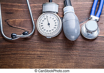 working elements of blood pressure monitor and stethoscope...