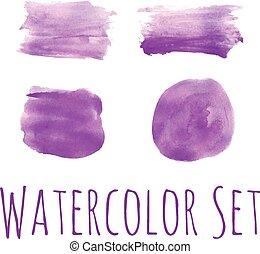 水彩画, 明るい, セット, すみれ