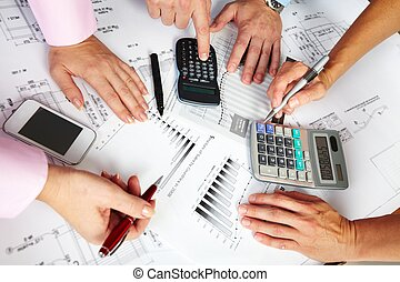 Business team. - Hands of business people team working in...