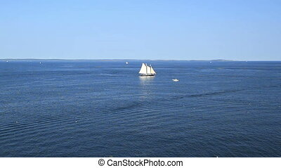 Sail Boat in Maine USA - Ocean View Sail Boat in Maine USA
