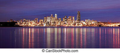 Downtown Seattle Skyline Elliott Bay Puget Sound Office...