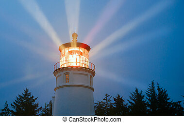 Lighthouse Beams Illumination Into Rain Storm Maritime...
