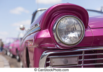 Headlight of oldtimer. Havana, Cuba - Close up of oldtimer...