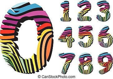 Digits with color background zebra