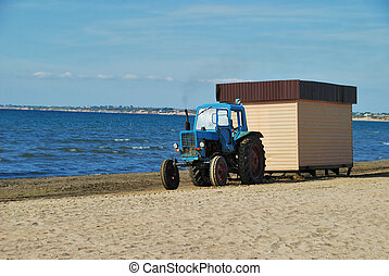 Tractor on coast of Black sea