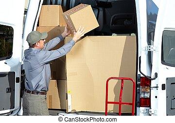 cartero, con, paquete, box.,