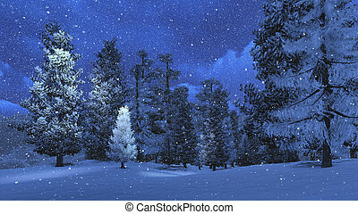 Winter night in the snowbound pinewood 2 - Nighttime view of...