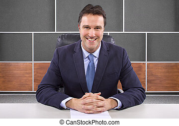 News Anchor in Studio Set - male news anchor or reporter in...