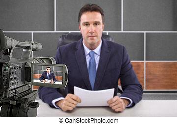 reportero, en, televisión,