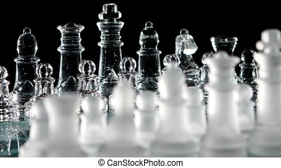 Party game of chess. Black background.
