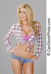 Blonde Country Girl Model - A beautiful blonde posing in a...