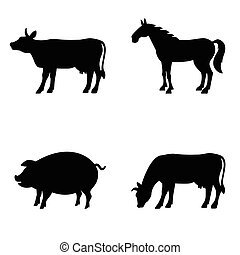Farm animals vector set.