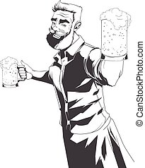 Vector silhouette of barman - Hand drawn illustration of...