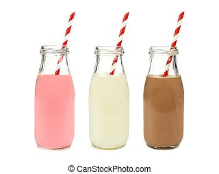 Various flavors of milk in bottles - Strawberry regular and...