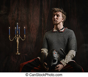 Medieval knight - Portrait of medieval knight and he wearing...