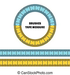 Tape measure. Set of vector brushes, frame.