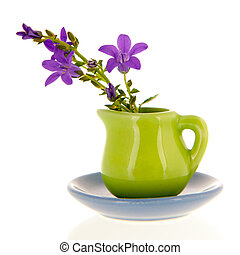 Vase flowers - Miniature vase and flowers isolated over...