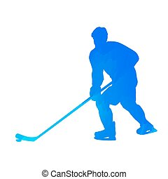 Abstract blue hockey player