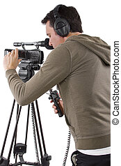 Camera Operator - video camera operator with tripod on white...
