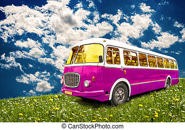 Hippie happy - Retro bus parked in meadow on a background of...