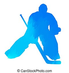 Abstract blue hockey goalkeeper