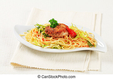 Meat patty with spaghetti and spicy sauce