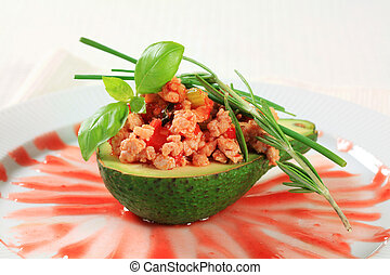 Stuffed avocado - Avocado stuffed with stir fried minced...