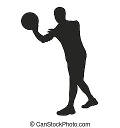 Basketball player passes Vector sillhouette