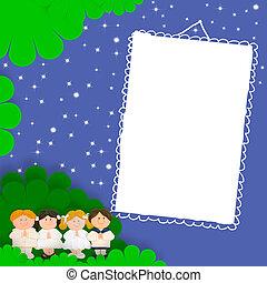 zuerst, heilig, kommunion, foto, frame, ,