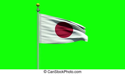 Waving flag of Japan - Flag of Japan waving in the wind on a...