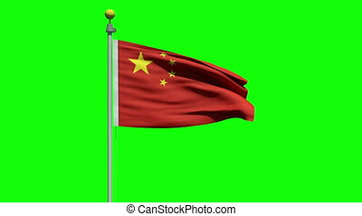 Waving flag of China - Flag of China waving in the wind on a...