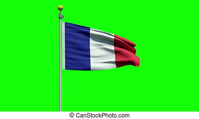 Waving flag of France - Flag of France waving in the wind on...