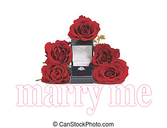 Marriage proposal - Five rose heads surrounding an open ring...